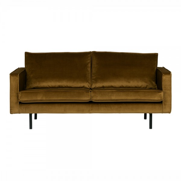 "Samt-Sofa ""Reka in Senfgelb - 2,5- Sitzer im Retro-Stil"