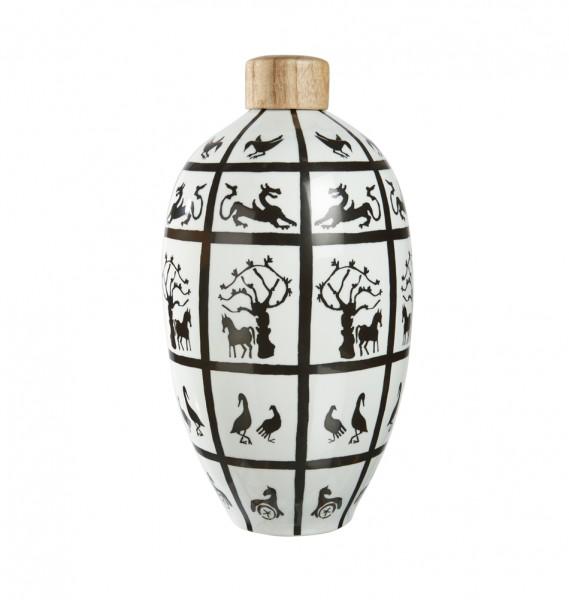 Exotische Keramik Vase mit Holzdeckel