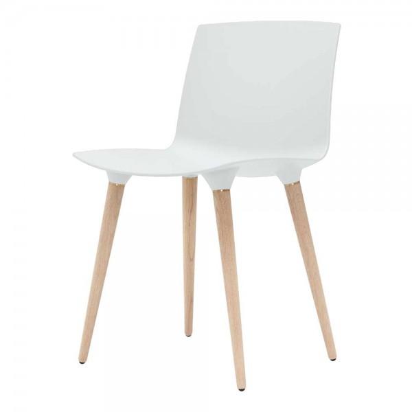"""""""The Andersen Chair"""" - Esszimmerstuhl in Weiß, Beine in Natur"""