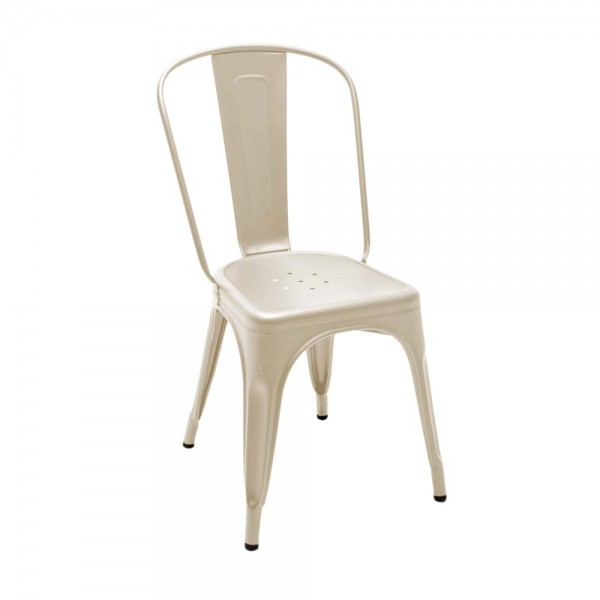 "Tolix ""Chaise A"" - Designerstuhl aus mattem, beigen Stahl"